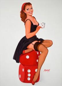Vintage Baron Von Lind Gambling Girl