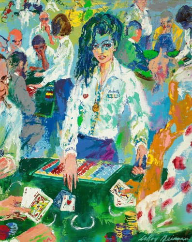 80s hair LEROY NEIMAN painting Dealer  Caesars Palace painting