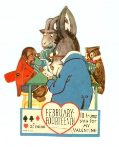 vintage card playing donkey mechanical valentine